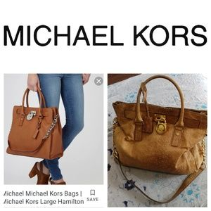 Micheal Kors distressed ostrich leather satchelbag
